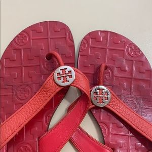 Tory Burch Shoes - Red pebble leather flip flops